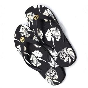 Tory Burch NWOT Floral Flip Flops Black & White